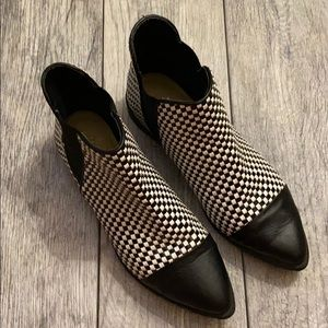 Black and white checkered booties
